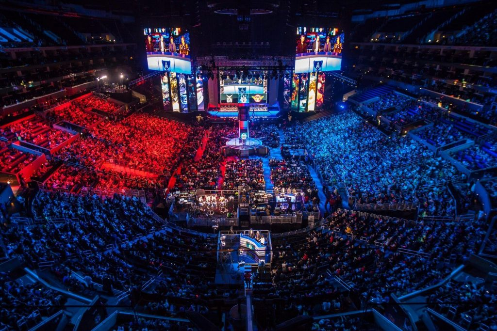 Massive Stadium filled with crowd during League of Legends World Championship