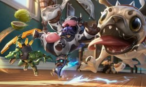 Pug Maw Chasing Cow Smurf LOL skins -League Of Legends