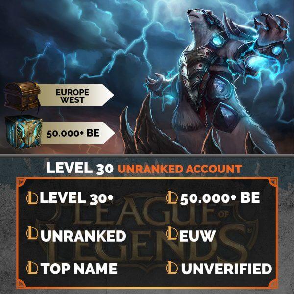 Europe West LoL Account 50.000+ Blue Esssences EUW