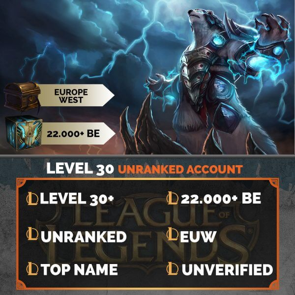 Europe West LoL Account 22.000+ Blue Esssences EUW
