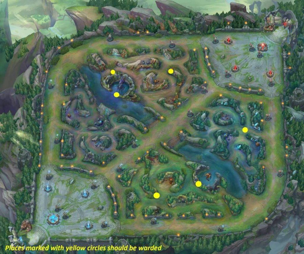 Warding Positions on Summoners Rift Map - Split Pushing in LoL