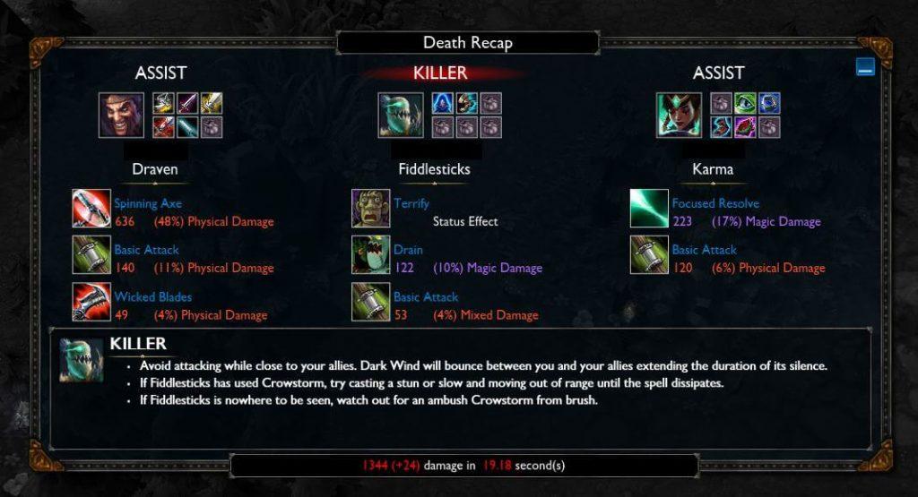 Tips for League of Legends Beginners - death recap