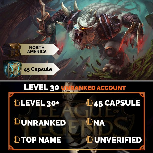 League of Legends Account 45 Capsules on server North America NA