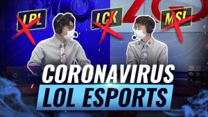 League of Legends Casters with face mask showcasing all major LoL events cancelled