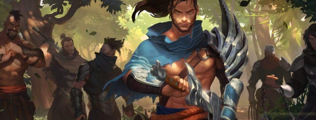 Legend of Runeterra Art from Riot representing Yasuo and random units shadowed in the back