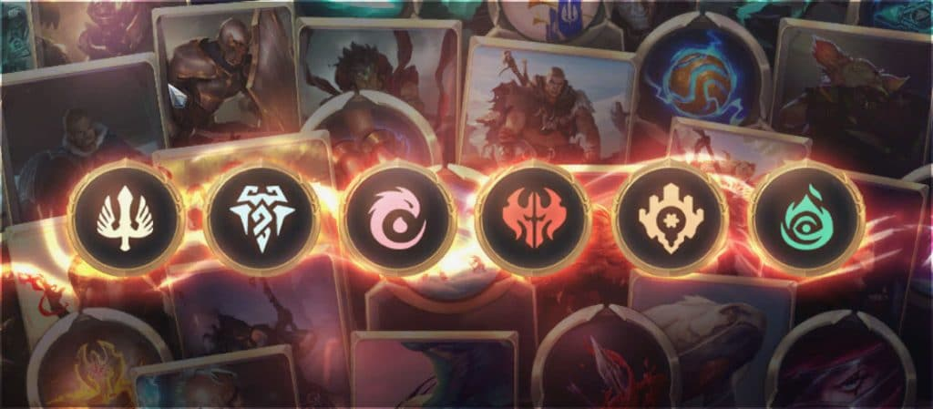 Different icons representing the Regions currently available in Legends of Runeterra