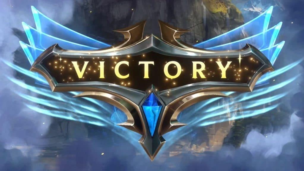 Victory screen after you destroy the Nexus in Legends of Runeterra