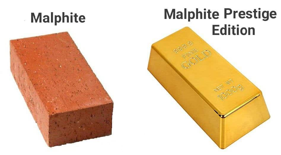 A brick labeled as Malphite beside a gold bar labeled as Malphite Prestige Edition