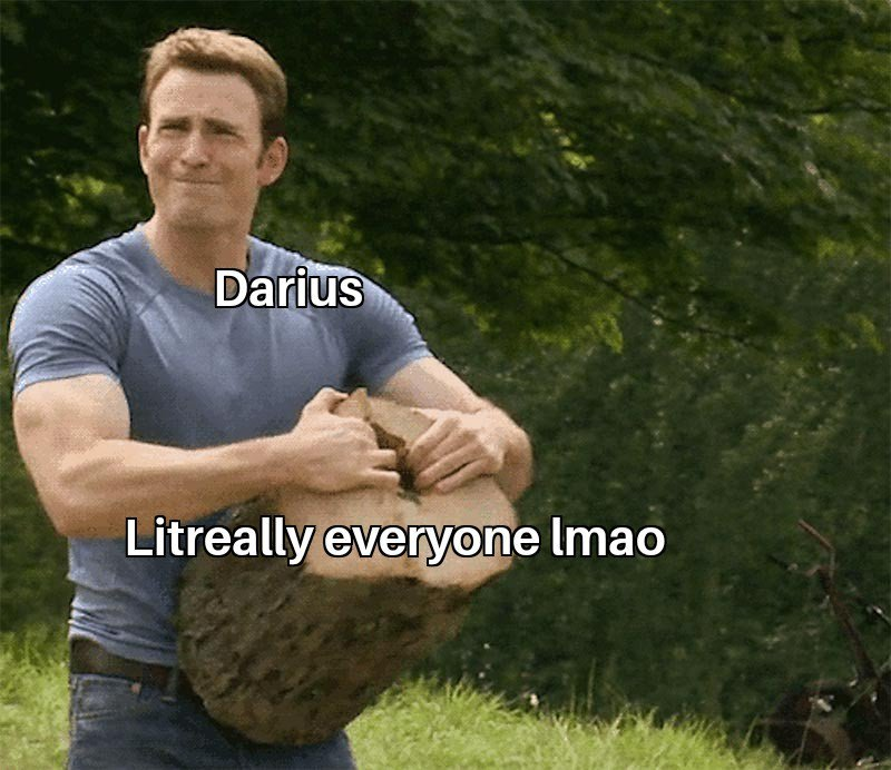 Picture of Captain America ripping a log apart with his bare hands labeled as Darius