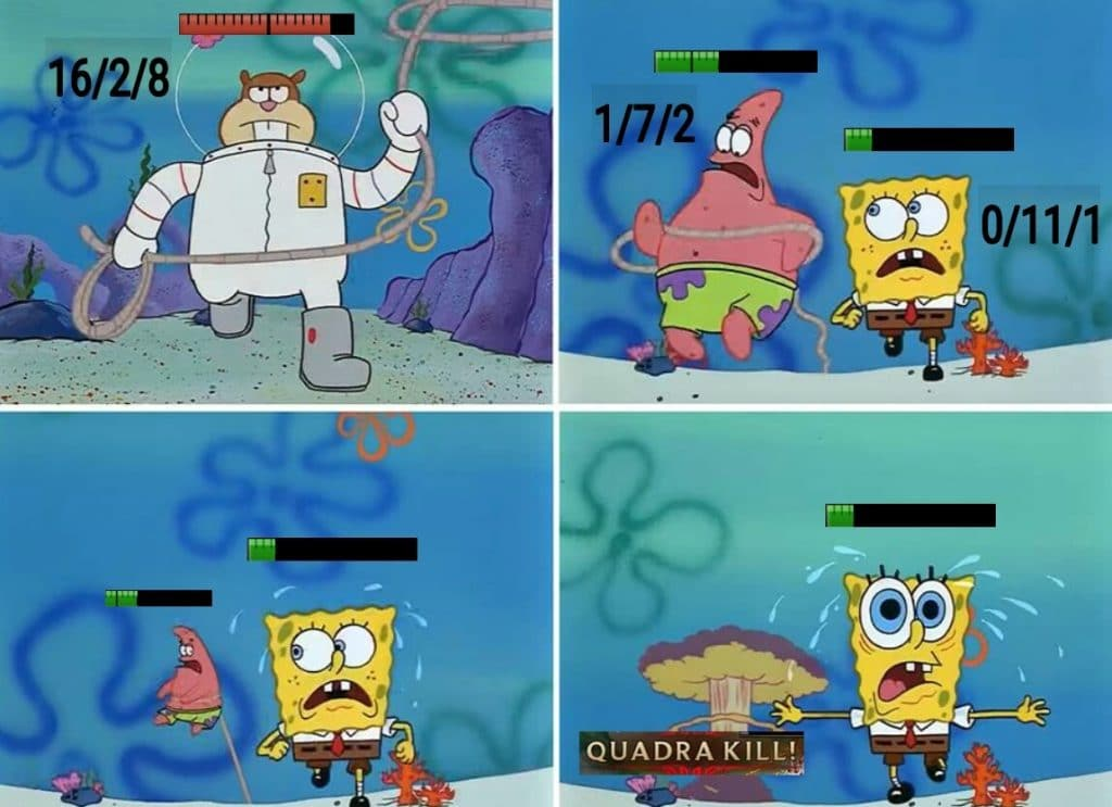 Spongebon running away from Sandy who has just gotten a quadra kill