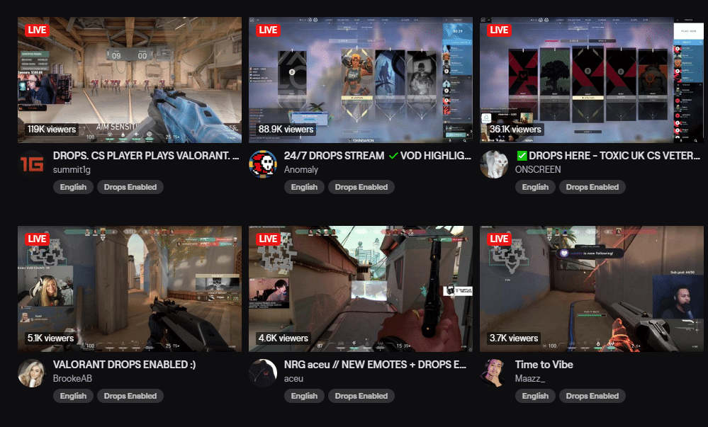 Various Twitch streamers playing the Valorant Beta with the Drops Enable tag