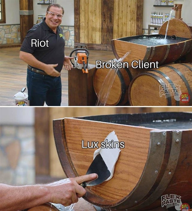 Riot covering up the broken client with Lux Skins