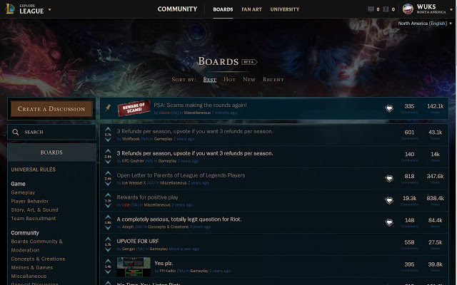 League of Legends Board List of Guides and News