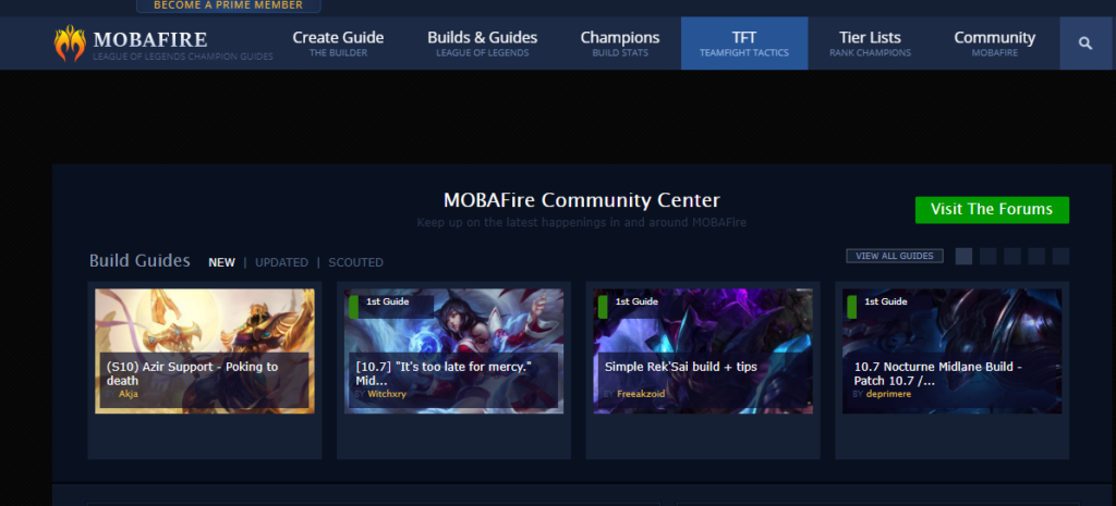 Mobafire's League of Legends Forum Homepage containing guides and tips