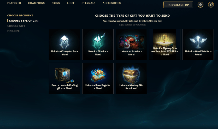 League of Legends Gifting Center
