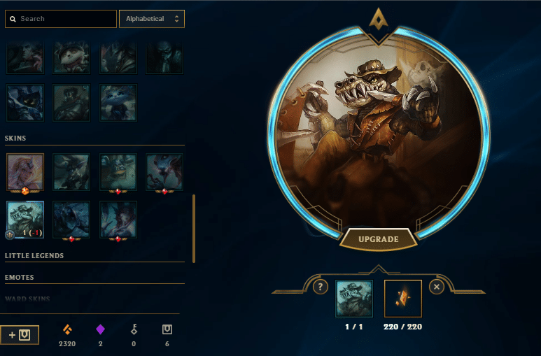 Outback renekton skin shard being unlocked in Hextech Crafting