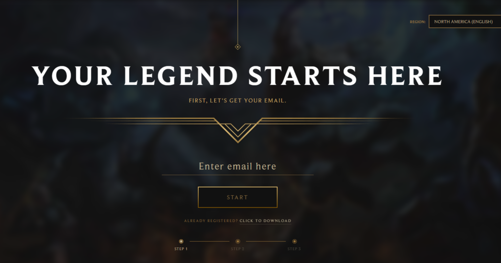 The Registration Page in the Riot Games official website