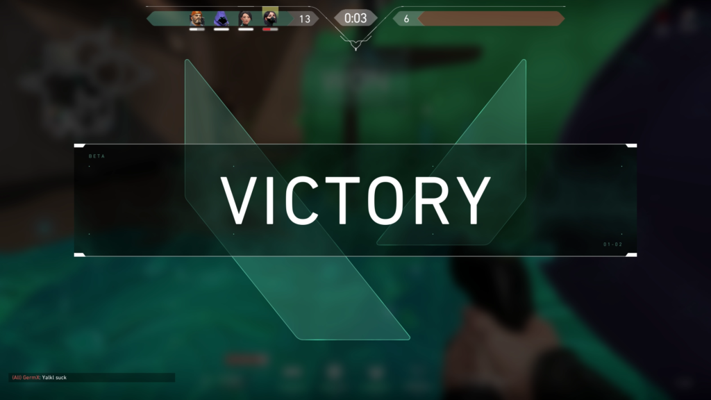 Victory Screen showing at the end of match once your team gets 13 wins