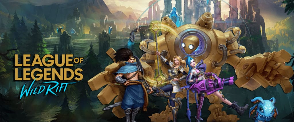 Wild Rift's custom art with different Champions and a background image of a temple.