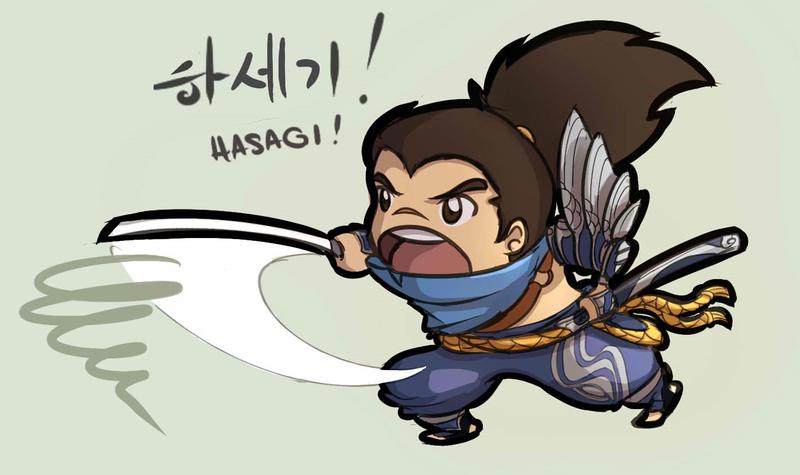 Yasuo Chibi, throwing one of his abilities with a text from the voice sound.