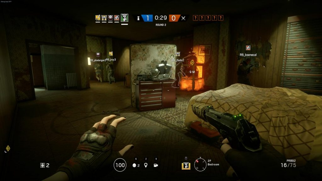 Rainbow Six Siege gameplay screenshot, showing HUD and strategic features.