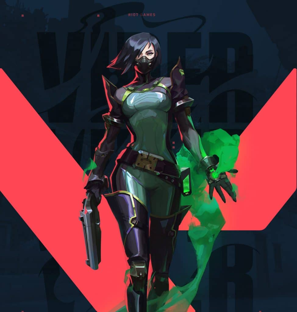 Agent Viper, art from Valorant showing on the Agents available on release date. Viper, a green-ish female with poison abilities.