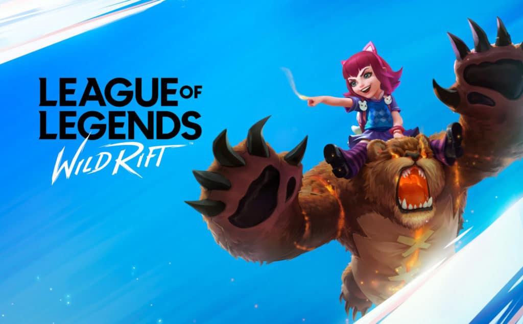 Image showing Wild Rift log and Annie in-game Model pointing something out of view.