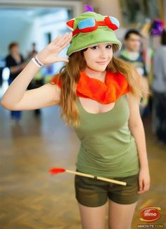 A genderbent cosplay of teemo by an adult woman