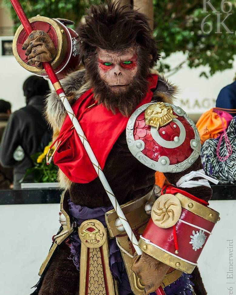 A Wukong cosplay complete with a realistic mask
