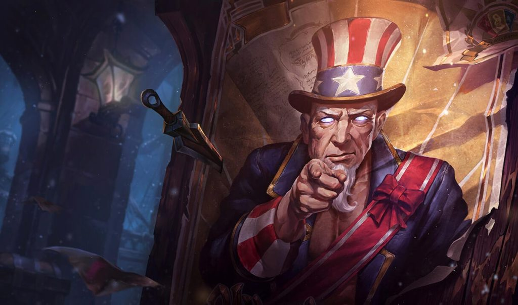 "Official Art from Uncle Ryze custom skin that is available in League of Legends. Showing an ""Uncle Sam"" alternative."