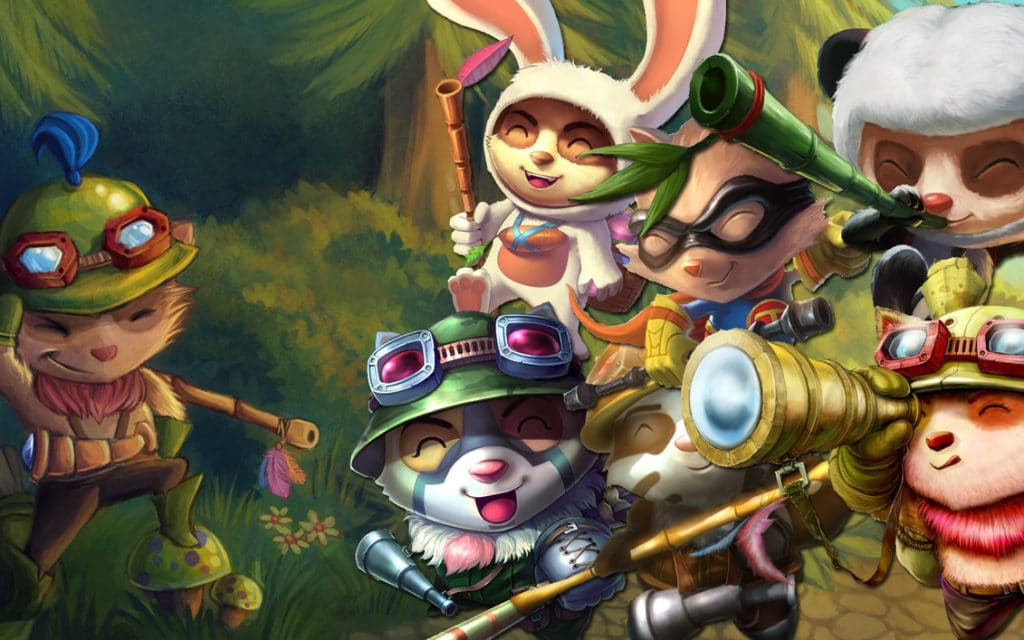 Fan Art about different Teemos with multiple posses and in-game Skins.