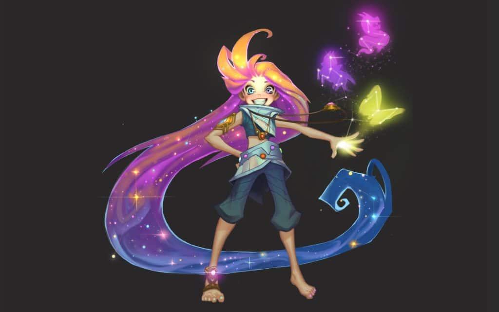 League of Legends Zoe fan art, showing the original skin with a dark background.