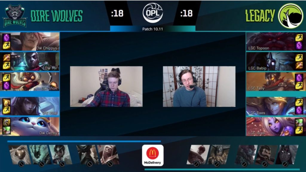 Online Stream screenshot featuring the match between Legacy Esports vs Dire Wolves