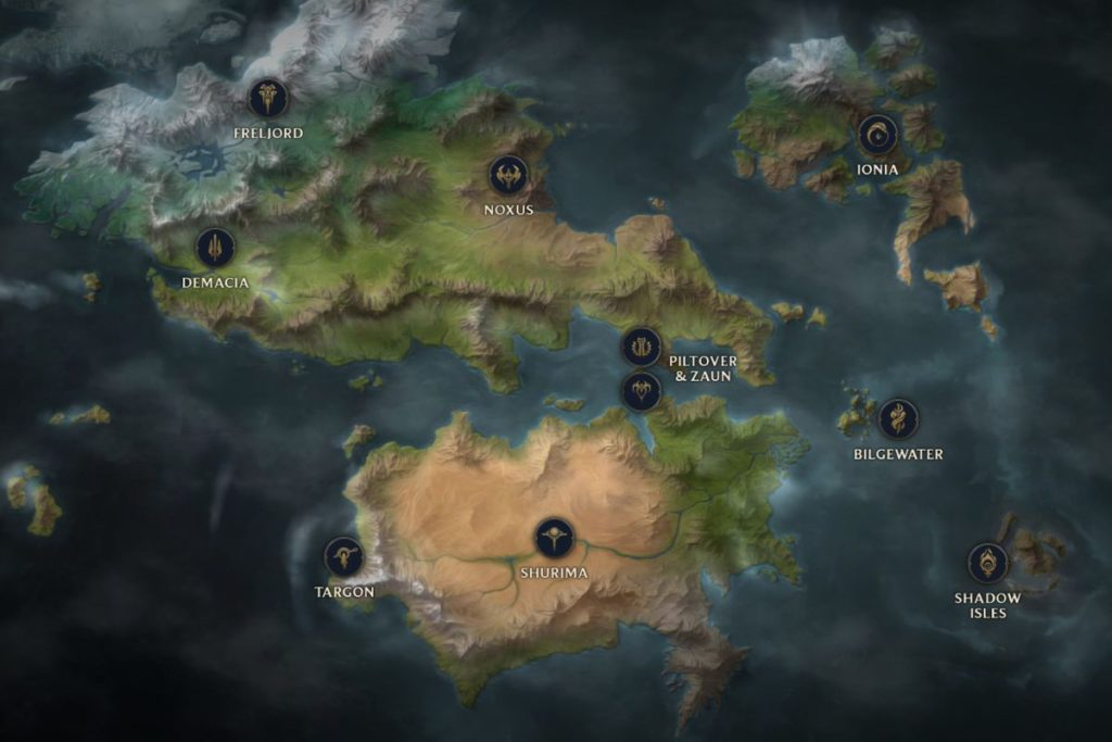 A map of modern runeterra featuring all the known territories