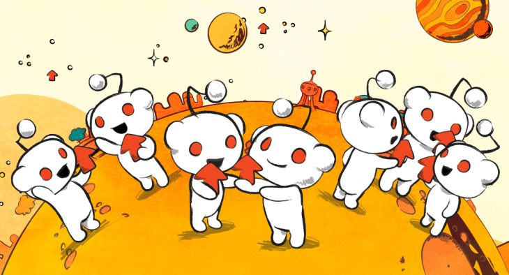 Bunch of Reddit logos interacting with each other, showing the upvote feature.