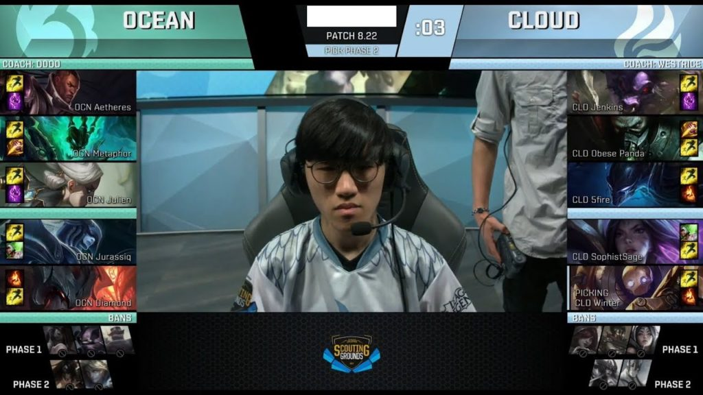 An official scouting grounds game between Team Ocean and Team Cloud