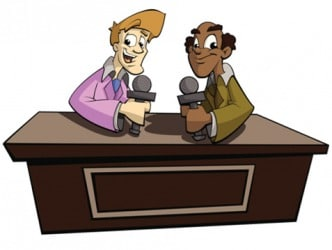 Cartoon of two commentators.