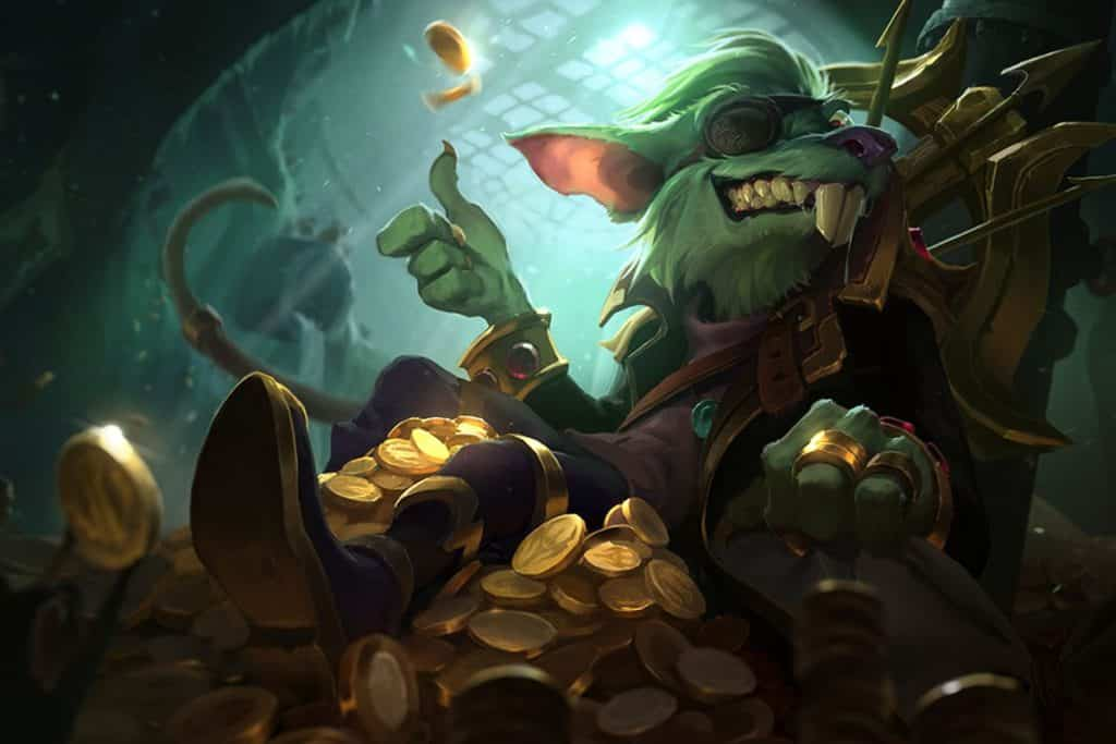 Kingpin Twitch lying down on a pile of coins for league of legends dying debunk