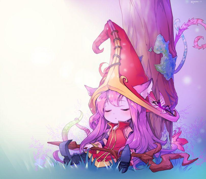 Lulu and Pix sleeping under a magical tree