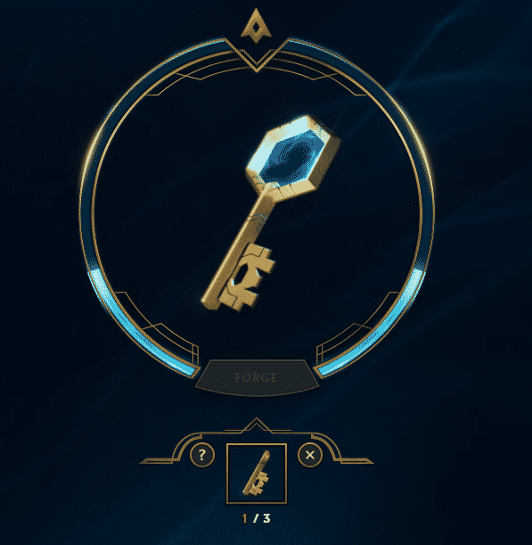 Forging a Key in the League of Legends interface system.