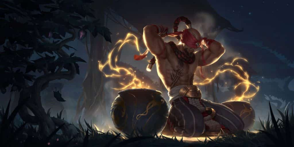League of Legends Lee Sin Art from a custom skin in the game.