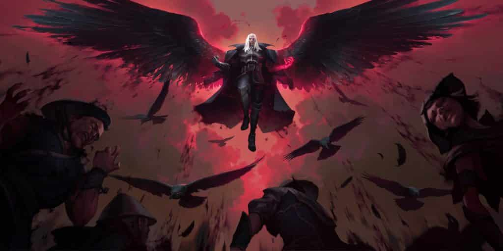 League of Legends Swain official art, showing the Champion flying .