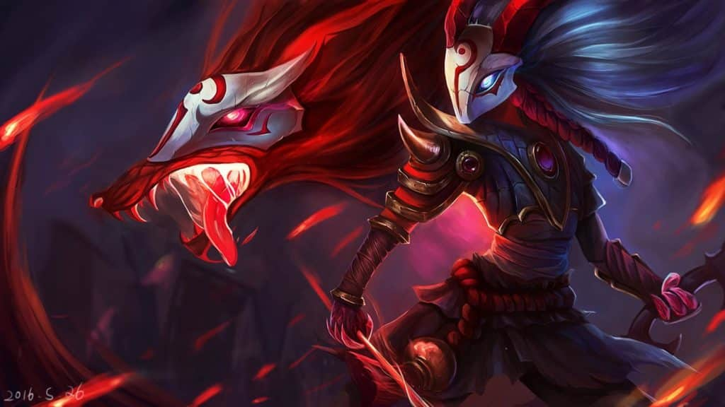 Lamb and wolf in their Blood moon skin kindred guide