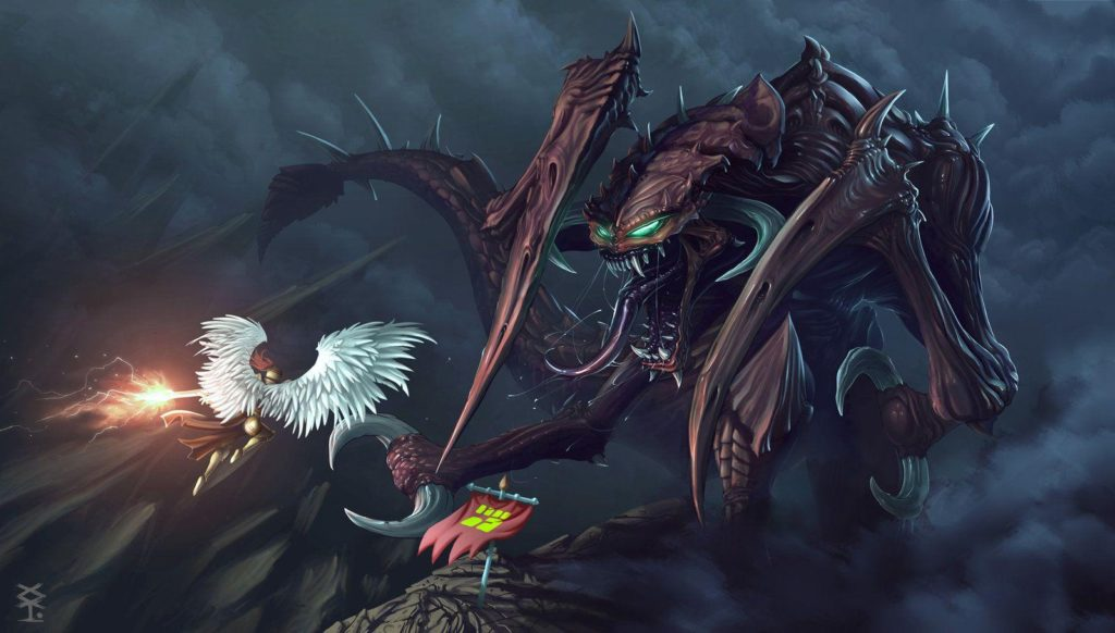 Kayle fighting against a huge cho'gath