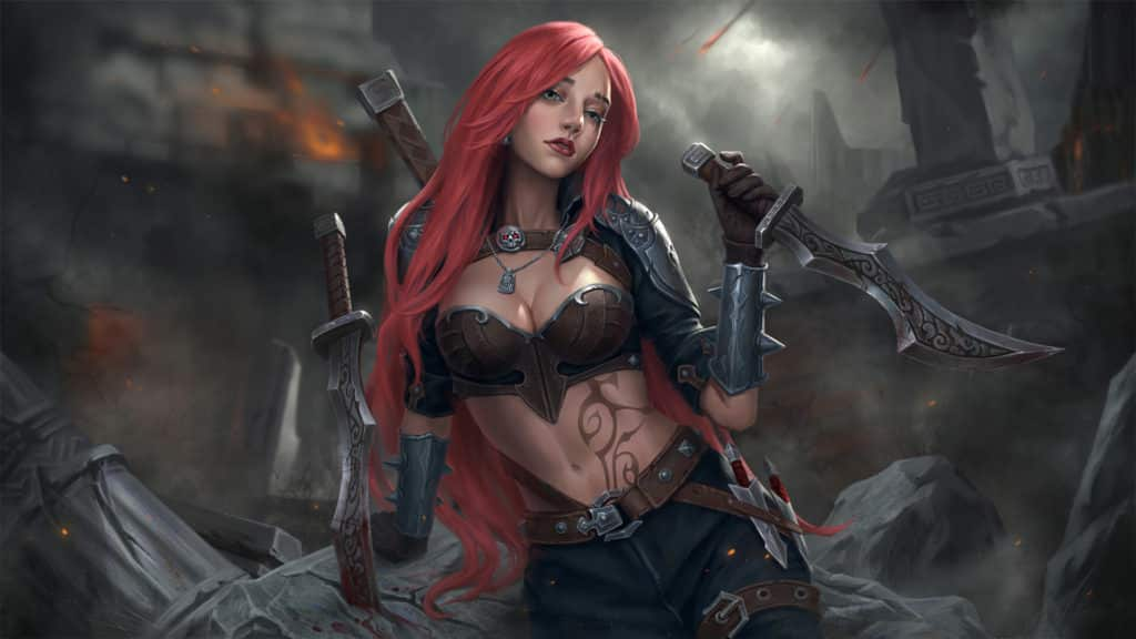 A close up look of Katarina posing in a feminine way