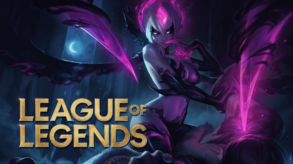 """League of Legends"" written over Evelynn the jungler's picture."