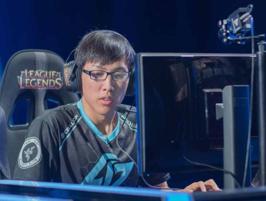 Doublelift wearing his Doublelift uniform on stage