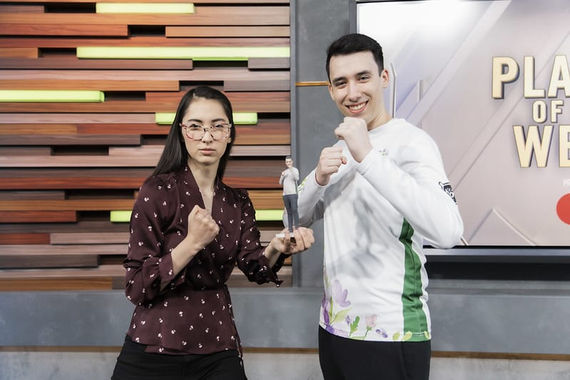 PowerOfEvil posing for the Player of the Week award for being an NA representative