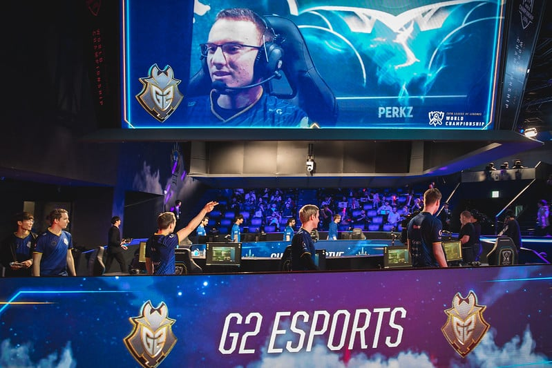 Perkz being featured on the big screen G2 Esports story