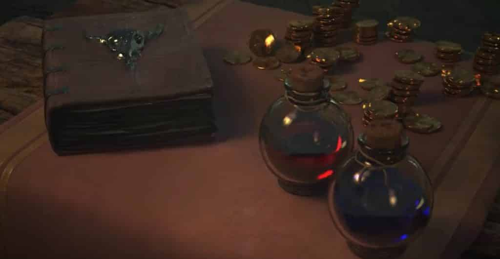 Potions and items on top of a desk